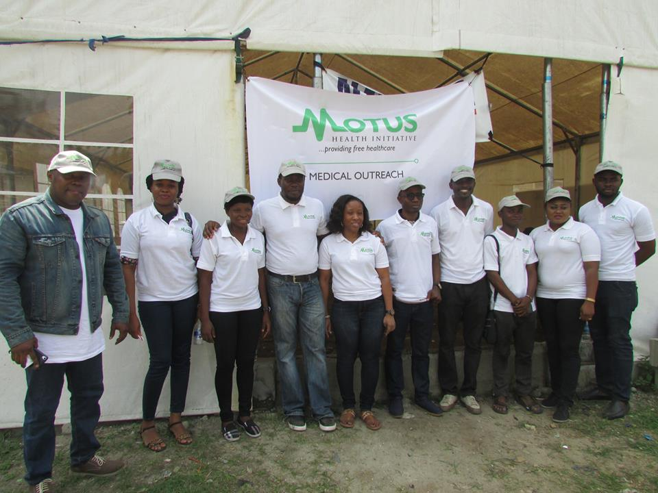 Team Motus from Left to Right, Dr Elijah Ezendu, Dr Chidinma Nwokedi, Wuraola Okemuyiwa, Dr Babajide Onanuga, Dr Bimbo Jimoh, Dr Dominic Egwabor, Dr Ebenezer Ajoloko, Ezekiel Joseph, Abosede Adejoke Elufowoju & Dr Emeka Ukoh at Venue of Hon. Femi Gbajabiamila Free Medical Programme Powered by Motus Health Initiative in Alaka Housing Estate, off Bode Thomas Street, Surulere, Lagos.